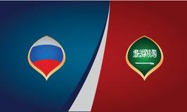 Lag av länder av Ryssland och Saudiarabien, flaggor, banervektor stock illustrationer