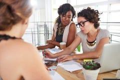 Lag av lyckat affärsfolk som har ett möte i utövande solbelyst kontor Arkivfoton