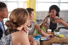 Lag av lyckat affärsfolk som har ett möte i utövande solbelyst kontor royaltyfri bild