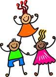 Lag av lyckliga ungar stock illustrationer