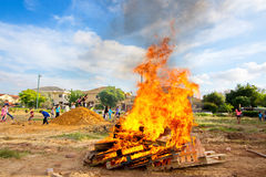 Lag Baomer bonfires in Israel Royalty Free Stock Photo