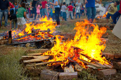 Lag Baomer bonfires in Israel Stock Photo