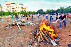 Lag BaOmer Bonfires in Israel Royalty Free Stock Photos