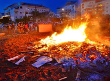 Lag BaOmer Bonfires in Israel Stock Photos