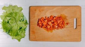 Lag de kokende salade van de eindemotie van verse groenten, vlakte Animatie hoogste mening royalty-vrije stock fotografie