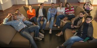 Lag för affärsfolk på möte arkivfoton