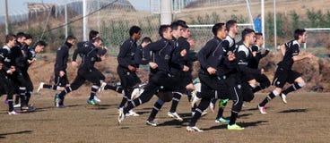 lag för coachningfotbollpaok Royaltyfria Bilder
