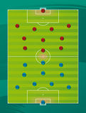 lag för fältfotbolltaktik Fotografering för Bildbyråer