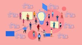 Lag för folk för affär för lopp för blandning för process för idékläckning för Businesspeoplegruppmöte som tänker nytt idérikt in vektor illustrationer