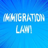 Lag för invandring för handskrifttexthandstil Begrepp som betyder nationell reglemente för invandrareutvisningregler royaltyfri illustrationer