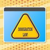 Lag för invandring för textteckenvisning Nationell reglemente för begreppsmässigt foto för invandrareutvisningregler royaltyfri illustrationer