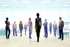 Lag för ledare för kontur för grupp för affärsfolk Royaltyfri Fotografi