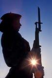 lag för marin för drillkvinnliganvändare Arkivbild