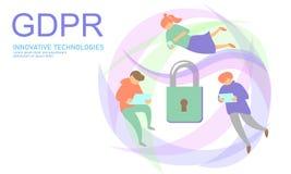 Lag GDPR för avskildhetsdataskydd Union för sköld för säkerhet för känslig information om datareglering europeisk Var rakt till royaltyfri illustrationer