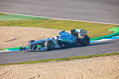 Lag Mercedes F1, Nico Rosberg, 2011 Arkivbild