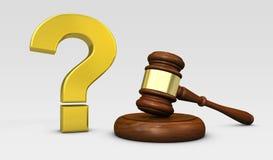 Lag och fråga Mark Sign Legal Concept Arkivbild
