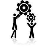Lag som tillsammans arbetar stock illustrationer