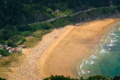 Laga海滩特写镜头在Urdaibai 库存图片