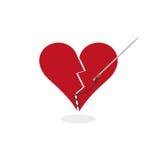 Laga en begreppsDigital för bruten hjärta illustration Arkivbilder