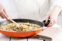 Laga mat blandning ett klart att tjäna som grönsakrispannan Royaltyfri Bild