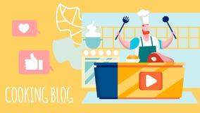 Laga mat bloggen, plan illustration för kulinariskt seminarium stock illustrationer