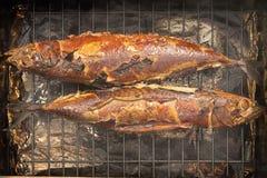 Laga mat den rökte scomberen på ett galler, fisk två arkivbild