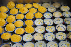 Laga mat den thailändska efterrätten: Khanom solbränna (Toddy Palm Cake) Royaltyfri Fotografi