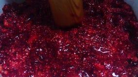 Laga mat driftstopp för rött hallon i en panna stock video
