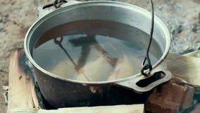 Laga mat fisksoppa i turist- kruka på brasan efter sommarfiske i floden lager videofilmer
