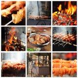 Laga mat grillfest utomhus på en ljus sommardag Arkivfoto