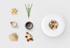Laga mat ingredienser för italiensk risotto med isolerade lösa champinjoner Royaltyfri Fotografi