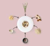 Laga mat ingredienser för italiensk risotto med lösa champinjoner som isoleras på guling Royaltyfri Foto