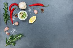 Laga mat ingredienser kryddar örtbasilikacopyspace kryddigt glödhett c Arkivbilder