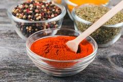 Laga mat ingredienser, kryddor, flockar Fotografering för Bildbyråer