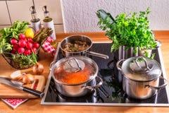 Laga mat krukor på ugnen Fotografering för Bildbyråer