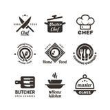 Laga mat mästarklassetiketter Restaurang- eller kafémenyemblem Kockvektorlogo som isoleras på vit bakgrund stock illustrationer