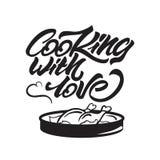 Laga mat med förälskelse som märker illustrationen med pannan och höna ocks? vektor f?r coreldrawillustration vektor illustrationer