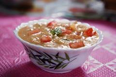 Laga mat med grädde med grönsaksidomaträtten, Paladai Sabji Arkivfoto