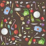 Laga mat och mat för alternativ för idérikt för vektor kök för plan packe olik Royaltyfri Fotografi
