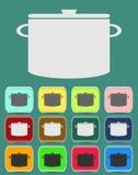 Laga mat pannasymbolen också vektor för coreldrawillustration Arkivfoton
