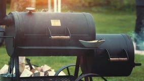 Laga mat/röka läckra saftiga köttbiffar och korvar lager videofilmer