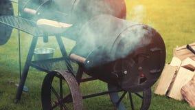 Laga mat/röka läckra saftiga köttbiffar och korvar stock video