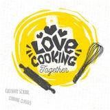 Laga mat skolan, kulinariska grupper, studio, logo, redskap, förkläde, gaffel, kniv, ledar- kock vektor illustrationer