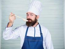 Laga mat som yrkesmässig ockupation För skäggig träsked kockhåll för Hipster Kitchenware- och matlagningbegrepp Låter försök arkivbild