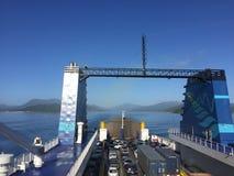 Laga mat Strait, Nya Zeeland - Februari 12th, 2016: interislanden arkivbilder
