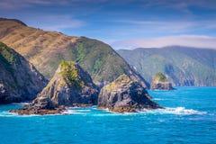 Laga mat Strait som är nyazeeländsk mellan den norr och södra ön royaltyfri fotografi