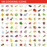 100 laga mat symboler ställde in, isometrisk stil 3d Arkivbilder