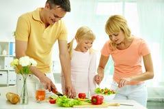 laga mat tillsammans Fotografering för Bildbyråer