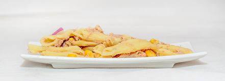 Lagad mat pasta med den röda löken, tonfisk och havre, vit platta Royaltyfri Foto