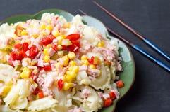 Lagad mat pasta med grönsaker Arkivfoto